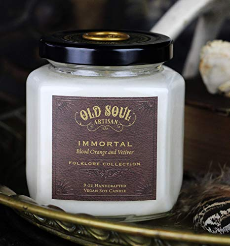 Immortal - Blood Orange and Vetiver Candle Vampire Book Lover Folklore Mythology Scented Soy - 9 oz