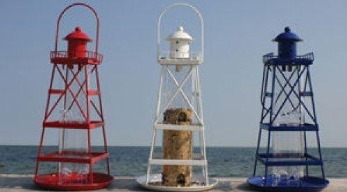 Lighthouse Bird Feeder - Blue - Metal Lighthouse Feeder Bird