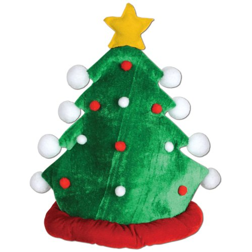 Beistle 1-Pack Plush Christmas Tree Hat Christmas Hats