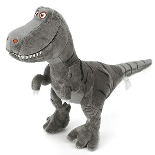 Gray Soft Toy - Zooawa Bed Time Stuffed Animal Toys, Cute Soft Plush T-Rex Tyrannosaurus Dinosaur Figure - Black & Gray