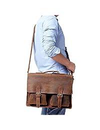 Kattee Retro Mens Leather Laptop Briefcase Shoulder Handbag