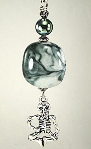 (Fun-loving Dancing Skeleton with Moody Lampwork Gray-Green Glass Ceiling Fan Pull)