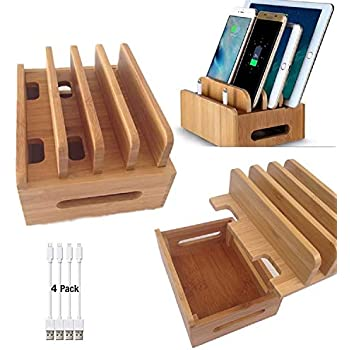 Amazon.com: Bamboo Charging Stations for Multiple Devices, Desk Docking Station Organizer for ...