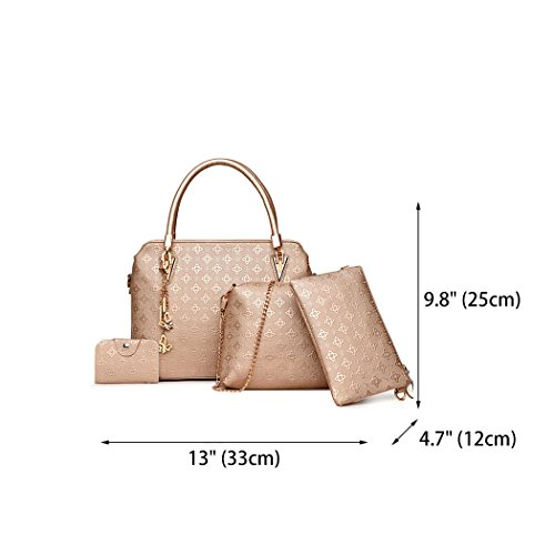 Crossbody Bag Women's Shoulder Handle Gold Top Bag PU Satchel Hobos Tote Bags Handbags Rose Leather wzp8w