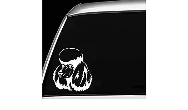 Standard Miniature Poodle Head Silhouette Car Bumper Laptop Vinyl Decal Sticker