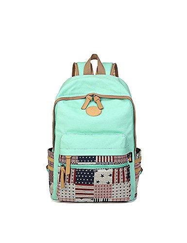 Leaper Lightweight Canvas Backpack Handbag School Backpack Book Bag Water Blue