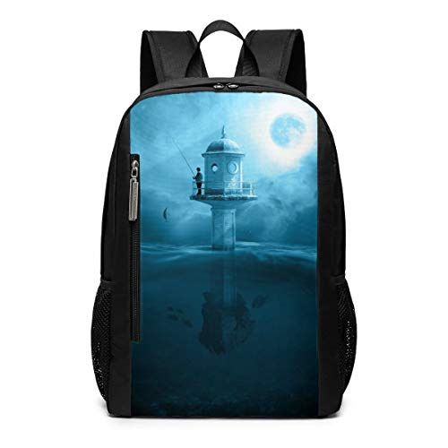 (Angler Fishing Rod Fishing Lake Water Laptop Backpack Business Travel Computer Bags School Bookbag Notebook for Women Men)