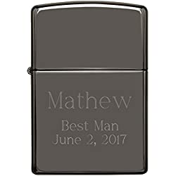 Personalized Black Ice Zippo Lighter with Free Engraving