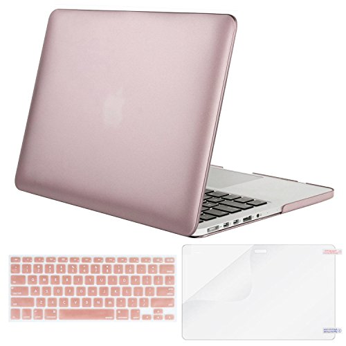 Mosiso Plastic Hard Case with Keyboard Cover with Screen Protector Only for MacBook Pro 13 Inch with Retina Display No CD-Rom (A1502/A1425, Version 2015/2014/2013/end 2012), Rose Gold