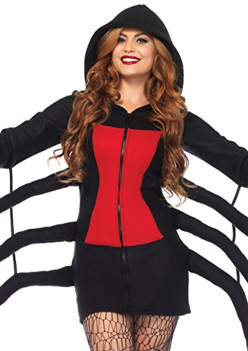 Spider Costume For Adults (Leg Avenue Women's Black Widow Cozy, Black/Red, Medium)