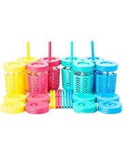 Toddler Cups/Kids Cups by JumpinJars! Kids Mason Jar Cups with Straw, Lids, Jackets, Straw Cleaners! Spill Proof Cups For Kids – Kids Tumbler with Straw – 8oz Kid Drinking Glass