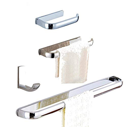 WINCASE Chrome Finsh 4-Piece Bath Accessory Set,Bathroom Hardware Set in Modern Square Style Wall Mounted Including Single Towel Bar Bathroom Toilet Roll Holder Towel Ring and Clothes Hook