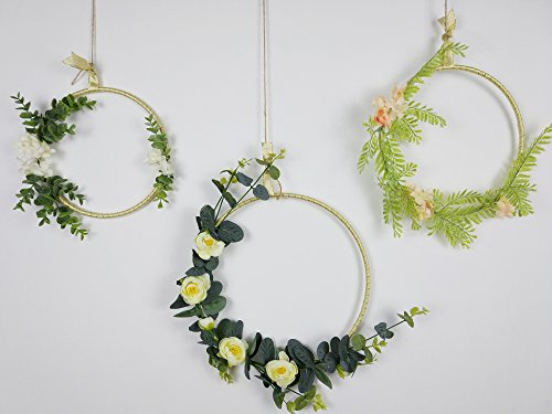 RISEON Handmade Set of 3 Gold Flower Wreaths,Boho Dream Catcher,Rustic Wedding Backdrop, Artificial Plant Vine Greenery Flower Garland, Window Wall Hanging Nursery Decor, Floral Hoop Ornament (Flowers Hoop Ring)