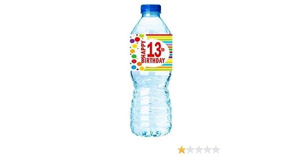 Amazon.com: CakeSupplyShop Item#013RWB Happy 13th Birthday Rainbow Water Bottle Labels -15ct: Toys & Games