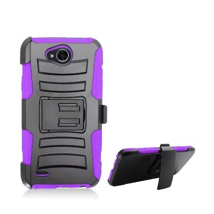 LG X Charge Case, LG Fiesta LTE Case, LG X Power 2 Case, K10 Power Case Allmet Dual Layer Hybrid Holster Stand Case Cover for LG X Power 2/LV7 2017 (Holster Purple)