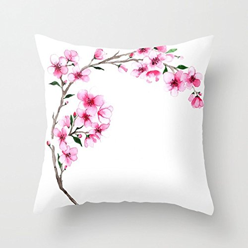 Jagfhhs Pink Cherry Blossom Branch Flower Lover Home Indoor For Decor Fashion Style Comfortanble Cotton Square Standar Size:16x16 IN (Two - Blossom Cherry Perfume Solid