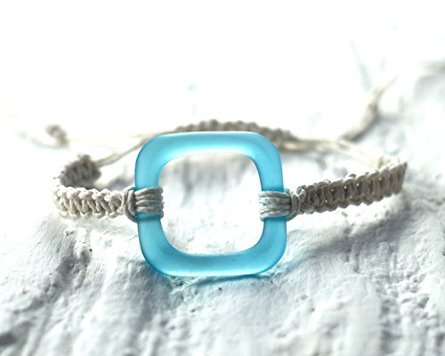 Gin Bottle Glass Macrame Bracelet - Recycled Bombay Sapphire (Recycled Glass Bracelet)