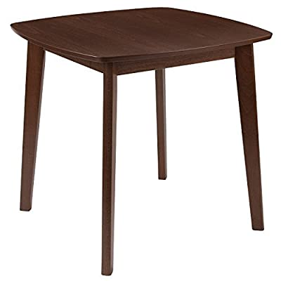 "Flash Furniture Whitman 31.5'' Square Walnut Finish Wood Dining Table with Clean Lines and Braced Legs - Contemporary Style Top Size: 31.5"" Square 2"" Thick Beech Veneer Top - kitchen-dining-room-furniture, kitchen-dining-room, kitchen-dining-room-tables - 41yLHKSIyvL. SS400  -"