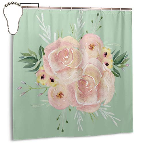 (Puloa Wild Roses on Pastel Cactus Green Shower Curtains with 12PCS Stainless Steel Hooks Rings,Durable Mildew Bathroom Curtain 72