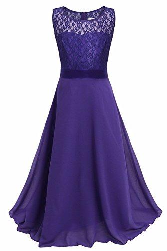 Big Girls Lace Chiffon Bridesmaid Dress Dance Ball Party Maxi Gown (16, Deep Purple) (Girls Size 16 Purple Dress)