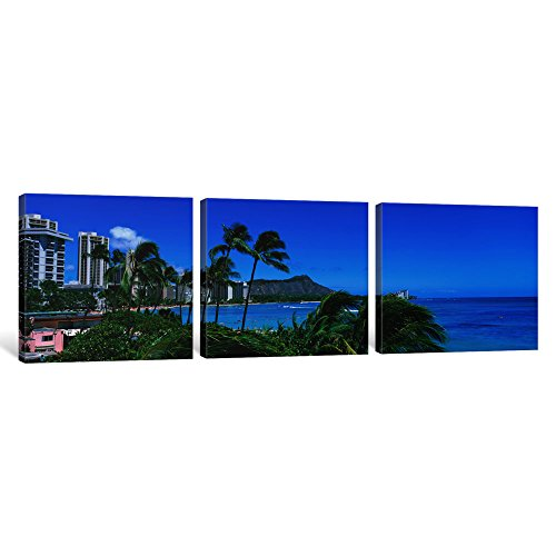 iCanvasART 3 Piece Palm Trees On The Beach, Waikiki Beach, Honolulu, Oahu, Hawaii, USA Canvas Print by Panoramic Images, 48 by 16