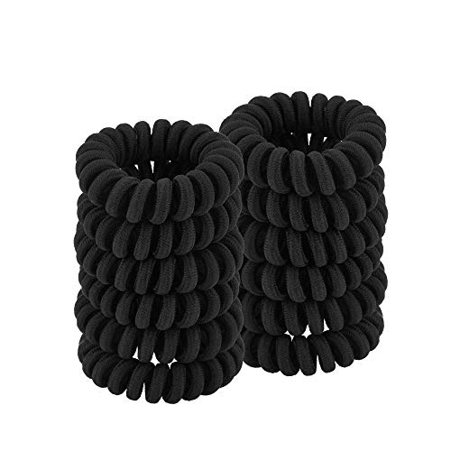 QIUTIMIY Coil Hair Ties for Thick Hair, Ponytail Holder Hair Ties for Women , No Crease Hair Ties, Phone Cord Hair Ties for all Hair Types with Plastic Spiral