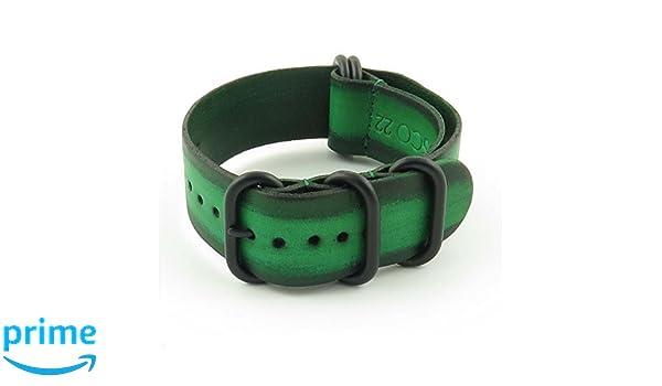 StrapsCo 16 mm verde Zulu Vintage Nato G10 Correa para reloj de piel con negro mate anillos: Amazon.es: Relojes