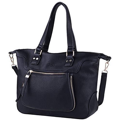 COOFIT Black Purse, Tote Handbags PU Leather Purse Tote Bag for Women