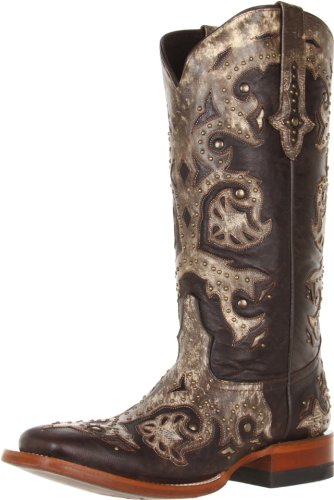 Women's Lucchese Studded Western Boot, Size 7 B - Black