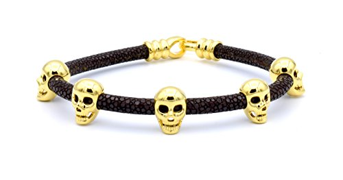 Silver Brown Stingray Leather - Double Bone Brown Stingray Bracelet with Yellow Gold Skulls Small 17 cm (6.7 in) DBMK00YBR