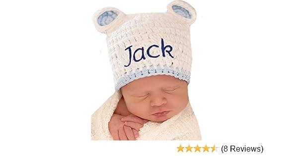 43c4ecbd5e550 Amazon.com  Melondipity Personalized White Sugar Bear Baby hat with Blue  Trim  Clothing