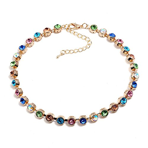 I'S ISAACSONG Vintage Statement Beaded Healing Crystal Gold Plated Chain Bib Collar Choker Necklace Bracelet for Women (Colorful Beaded Choker Collar Necklace Only)