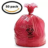Vakly Biohazard Waste Disposable Bag 24''X24'', 10 GAL 13 Micron (Roll of 50)