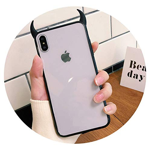 Strawberries Cake Ultra-Thin Anti-Drop Transparent Individuality Devil Horn Phone Case iPhone X XS Max 6 6S 7 8 Plus Soft Acrylic Case,Black,iPhone XR (Iphone 6 Devils Hockey Case)