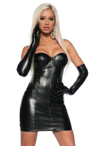 Schwarzes Leder Look Kleid (Lederimitat)