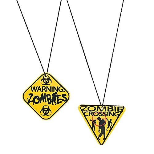 Fun Express - Zombie Warning Sign Necklace for Party - Jewelry - Necklaces - Necklaces - Novelty - Party - 12 Pieces ()