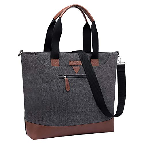 LOKASS Tote Bag 15.6 inches Laptop Briefcases Canvas Office Bag Shoulder Bag Lightweight Book Bag Top Handle Handbags Classic Casual Computer Bag for Women(Dark Grey)