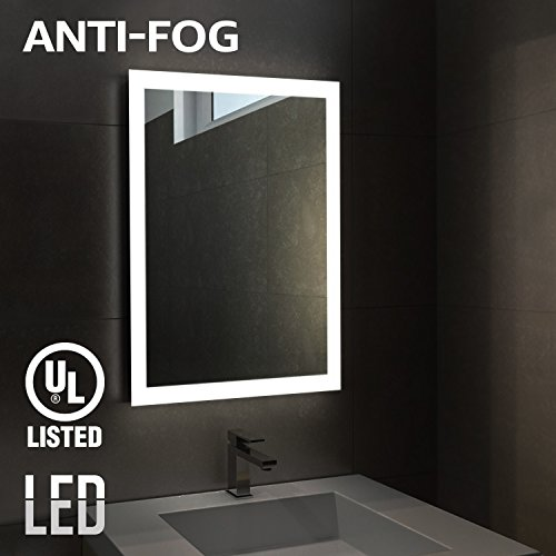 Fogless LED Illuminated Mirror Bathroom, UL-listed Wall Mounted Backlit Mirror 32' x 24' with Outer Lighted Ring by LEONLITE