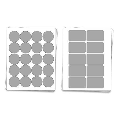 Printable Blank Mason Jar Sheet Labels for 40 Jars and Lids, for Inkjet and Laser Printers (Light Grey Matte)