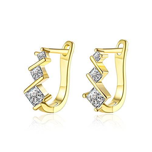 14K Gold Plated Cute Small Round Front Huggie Hoop Earrings with Small Rhinestone CZ Inlay Zirconia Schtrops and Lever back Closure forTeen Girls sensitive ears (15MM - Three (Gold Plated Rhinestone Earrings Clips)