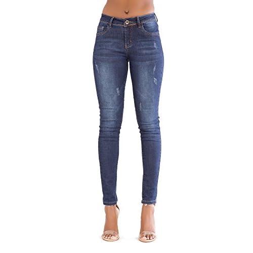 6d5789b279 Mujeres Azul Alta Cintura Cintura Flaco Buena calidad Pantalones vaqueros  high-quality