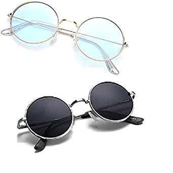 DEVEW   Men's and Women's Round Sunglasses combo pack - Set of 2 (standard , light blue and black )