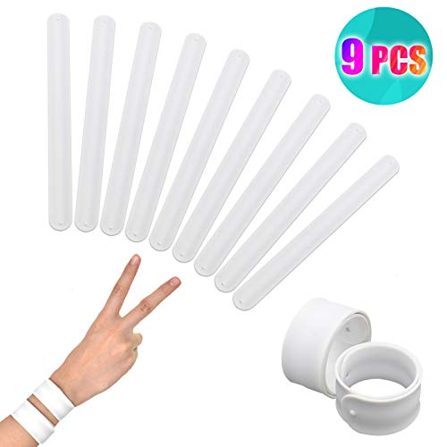 Diy Slap Bracelets (Timoo 9 Pcs White Silicone Slap Bracelets Toy, Slap Bands for Kids - Soft & Safe for Kids Boys and Girls Party)