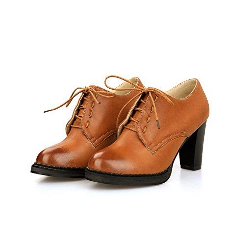 AgooLar Damen Weiches Material Schnüren Rund Zehe Rein Pumps Schuhe Gelb