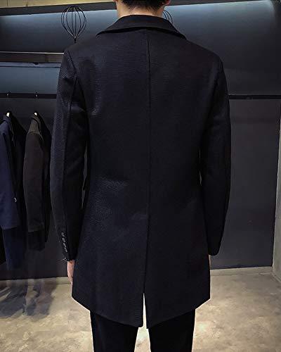 Coat Business Single Turn Overcoat Black Men's Breasted Trenchcoat Long Jacket Casual Collar PengGengA Down SXBWqwqP