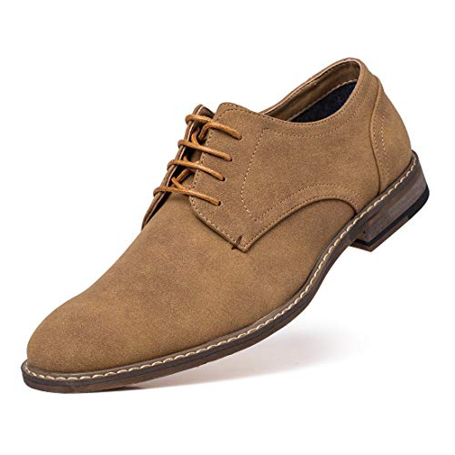 (Jivana Men's Suede Oxford Dress Shoes Lace Up Brown)