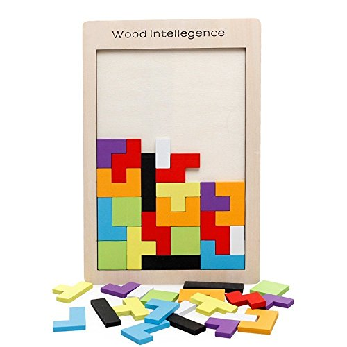 SENLIXIN Wooden Tetris Puzzle Tangram Jigsaw Brain Teasers Toy 40Pcs Colorful Building Blocks Early Education Intelligence Puzzle for Preschool Children Kids Boys Girls Playing