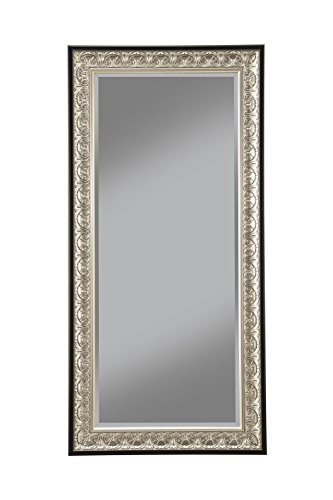 Sandberg Furniture 16011 Full Length Leaner Mirror Frame, Antique Silver/Black (Mirrors Long Silver)