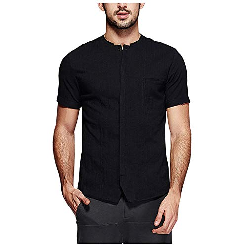 Mens Linen Henley Shirt Casual Short Sleeve T Shirt Pullovers Tees Retro Frog Button Cotton Shirts Beach -