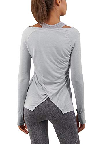 Bestisun Casual Basic Solid Long Sleeve Tops Back Split Workout Loose Fitting Athletic Shirt T-Shirts for Women Gray L